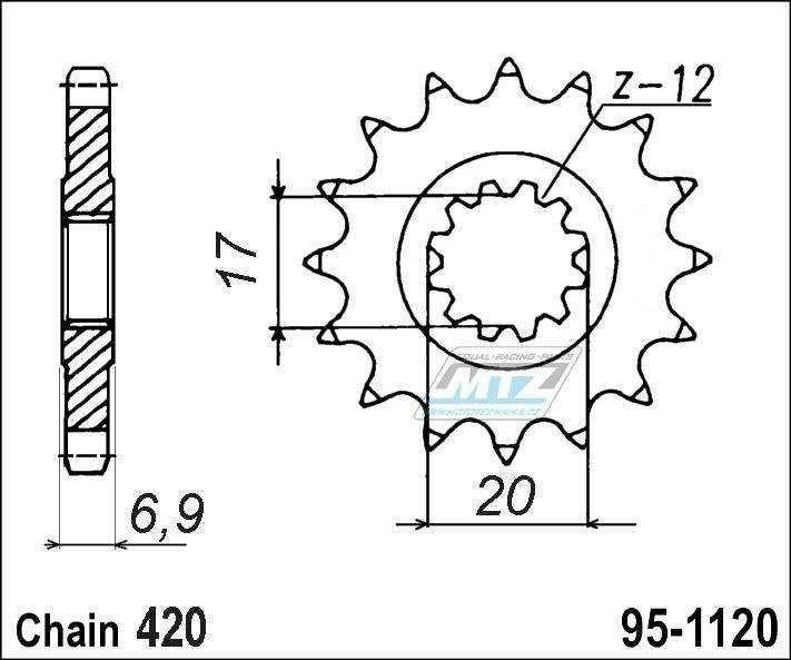 Obrázek produktu Řetězové kolečko MTZ - 95-1120-13 (5821)