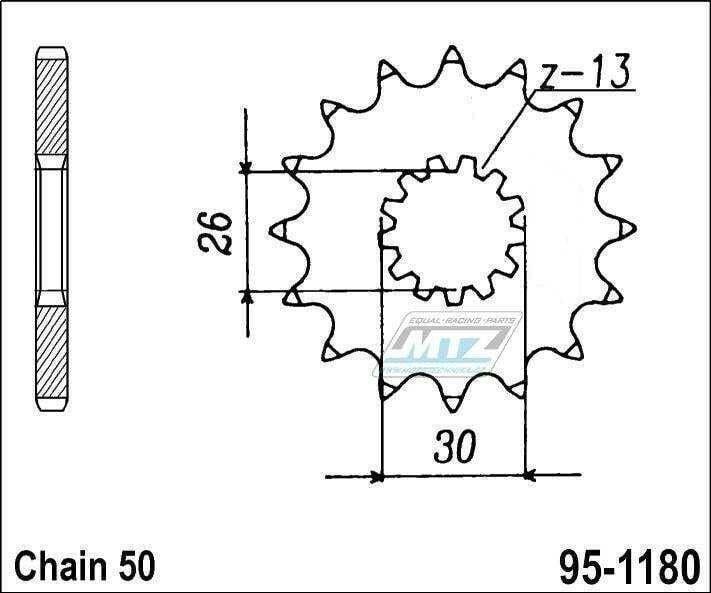 Obrázek produktu Kolečko řetězové (pastorek) 95-1180-17zubů MTZ - Triumph 750 + T509 + 900 + 955 + 955i + 1000 + 1050 + 1200 (5832)