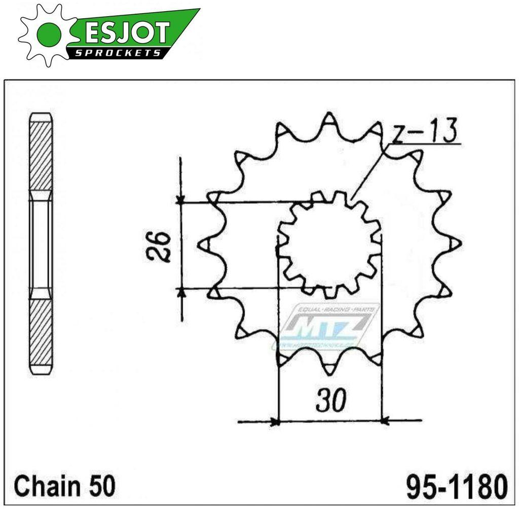Obrázek produktu Kolečko řetězové (pastorek) 1180-17zubů ESJOT 50-35030-17 - Triumph 750 + T509 + 900 + 955 + 955i + 1000 + 1050 + 1200 (es-50-35030)