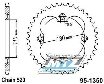 Obrázek produktu Rozeta ocelová 1350-38zubů MTZ - Honda ATC250R / 86 + TRX250R / 86-89 + TRX250X / 87-92 + TRX300EX Fourtrax / 93-08 + TRX300X / 09 + TRX400X / 09-14 + TRX400 EX Sportrax / 99-08 + TRX450R / 04-05 + TR