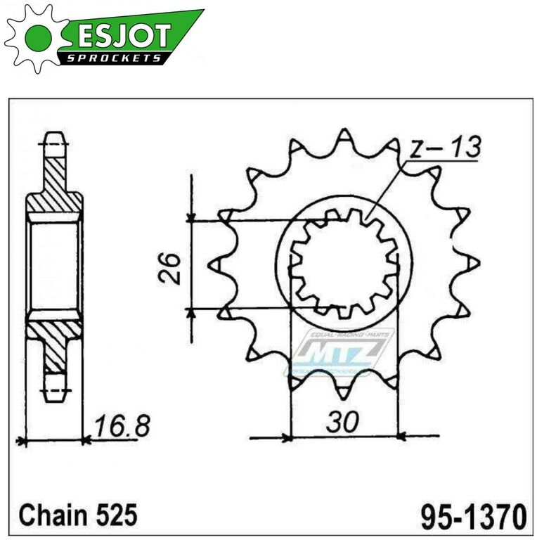 Obrázek produktu Kolečko řetězové (pastorek) 1370-15zubů ESJOT 50-29017-15 - Honda CBF600 + CBR600 + CB650 + CBR650 + CBR900 + CBR1000 + CRF1000 + CRF1100 + XL1000 (es-50-29017)