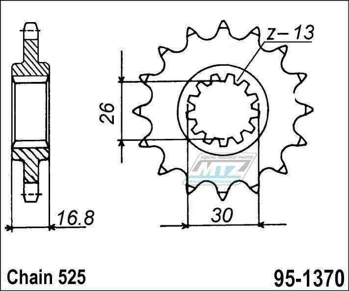 Obrázek produktu Kolečko řetězové (pastorek) 95-1370-16zubů MTZ - Honda CBF600 + CBR600 + CB650 + CBR650 + CBR900 + CBR1000 + CRF1000 + CRF1100 + XL1000 (5871)