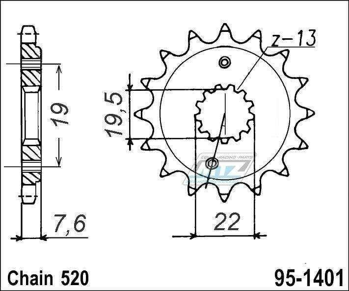 Obrázek produktu Kolečko řetězové (pastorek) 95-1401-13zubů MTZ - Kawasaki KSF400 + Suzuki LTZ400 Quadsport + LTR450 Quadracer (5878)