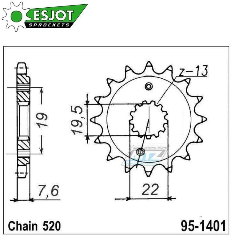 Obrázek produktu Kolečko řetězové (pastorek) 1401-14zubů ESJOT 50-32122-14 - Kawasaki KSF400 + Suzuki LTZ400 Quadsport + LTR450 Quadracer (es-50-32122)