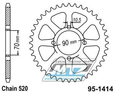 Obrázek produktu Rozeta ocelová 1414-43zubů MTZ - Kawasaki KSF250 A Mojave / 87-04 + KEF 300 A,B Lakota / 95-03 (12131)