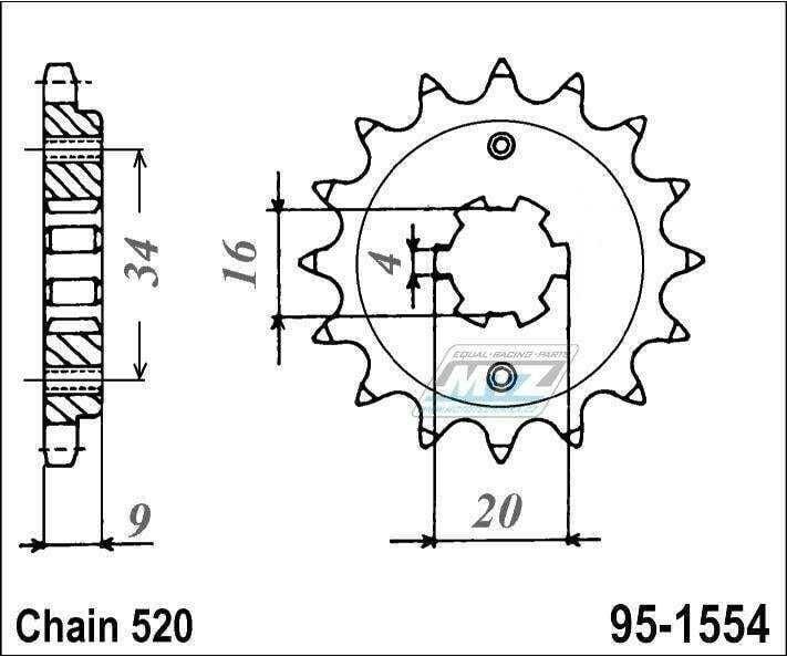 Obrázek produktu Kolečko řetězové 1554-14 (95-1554)
