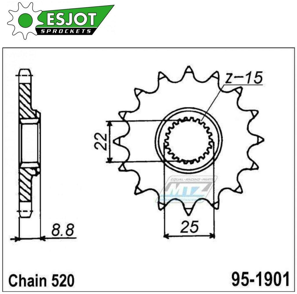 Obrázek produktu Kolečko řetězové (pastorek) 1901-15zubů ESJOT 50-32024-15 - Betamotor 125RR+200RR+ 350RR+450RR+520RR + KTM 125+150+200+250+300+350+400+450+520+560 + Husaberg FE250+TE300+FE450 + Husqvarna 125+250+300