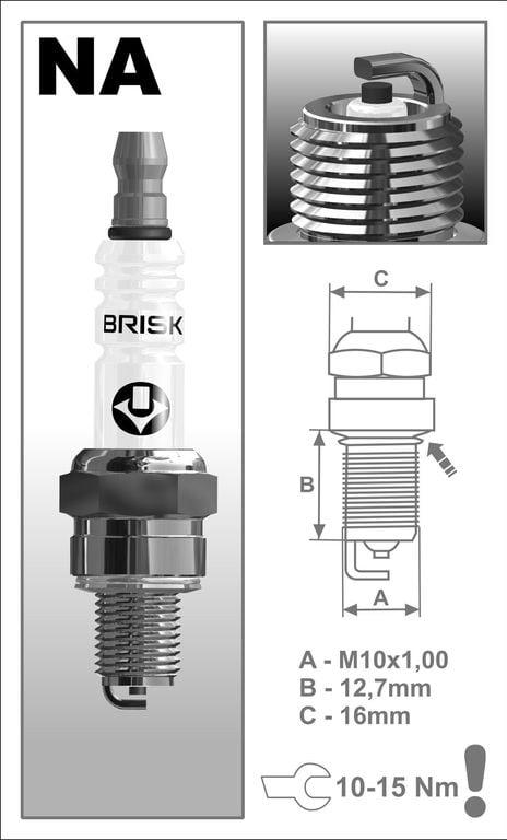 Obrázek produktu Svíčka motocyklová zapalovací Brisk - NAR15C (NGKCR6HSA-BR)
