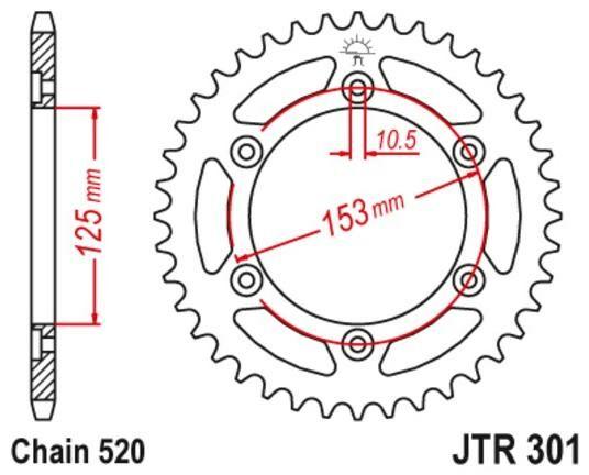 Obrázek produktu ocelová rozeta pro sekundární řetězy typu 520, JT (39 zubů)