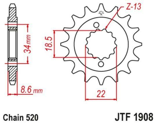 Obrázek produktu řetězové kolečko pro sekundární řetězy typu 520, JT (15 zubů)