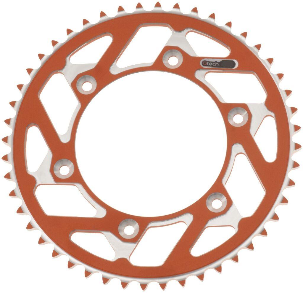 Obrázek produktu duralová rozeta MASTER pro sekundární řetězy typu 428, Q-TECH (oranžový elox, 48 zubů) JTR895.48 ORANŽOVÁ