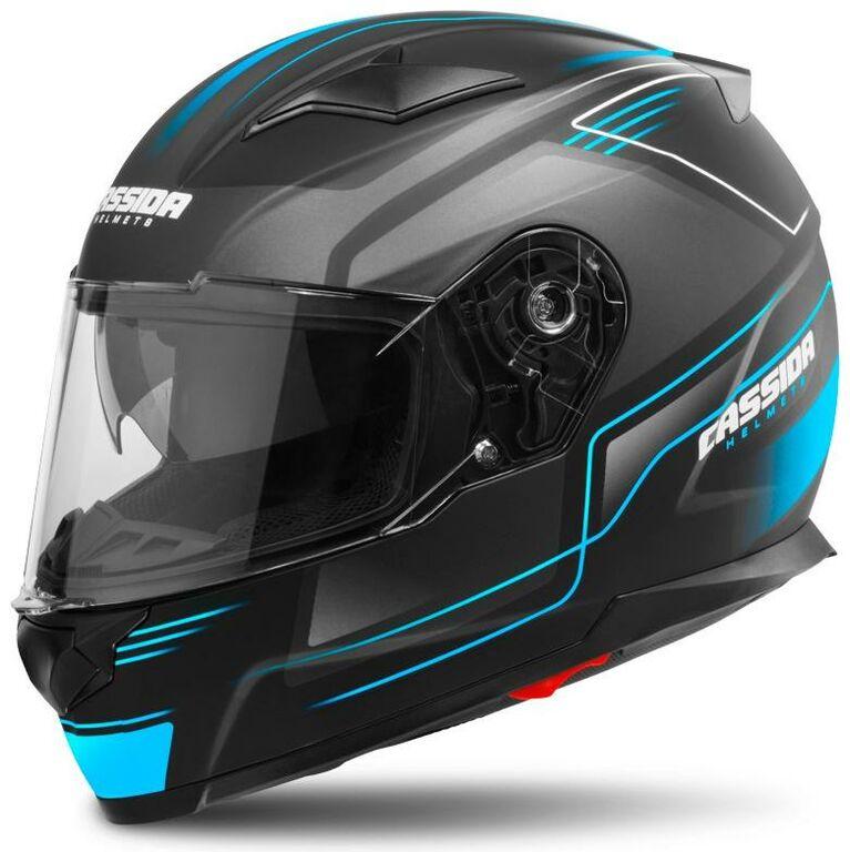 Obrázek produktu přilba Apex Fusion, CASSIDA (černá matná/světle modrá, balení vč. Pinlock folie)