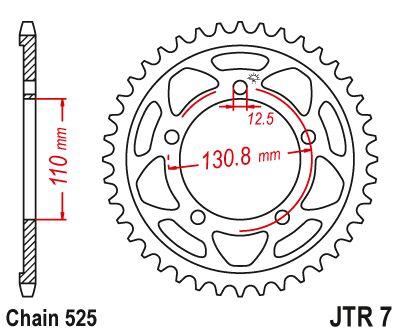 Obrázek produktu Řetězová rozeta JT 45 zubů, 525