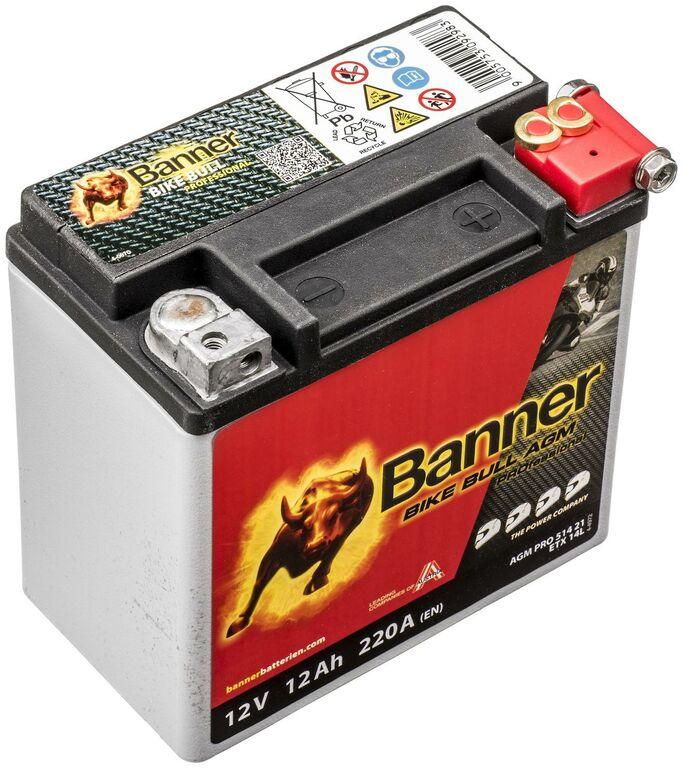 Obrázek produktu baterie 12V, ETX 14L, 12Ah, 220A, BANNER Bike Bull AGM PRO 150x88x145 AGMPRO 514 21