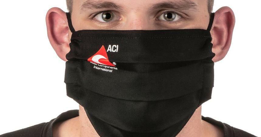 Obrázek produktu Rouška bavlněná skládaná, černá s logem ACI, uni velikost s gumičkou