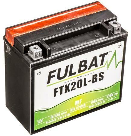 Obrázek produktu baterie 12V, YTX20L-BS, 18Ah, 270A, bezúdržbová MF AGM 175x87x155, FULBAT(vč. balení elektrolytu)