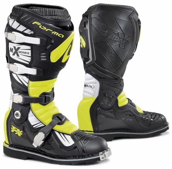 Moto boty FORMA TERRAIN TX černo/bílo/žluté fluo (Velikost: 43)