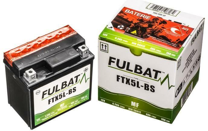 Obrázek produktu baterie 12V, YTX5L-BS, 4Ah, 70A, bezúdržbová MF AGM 114x71x106, FULBAT (vč. balení elektrolytu)