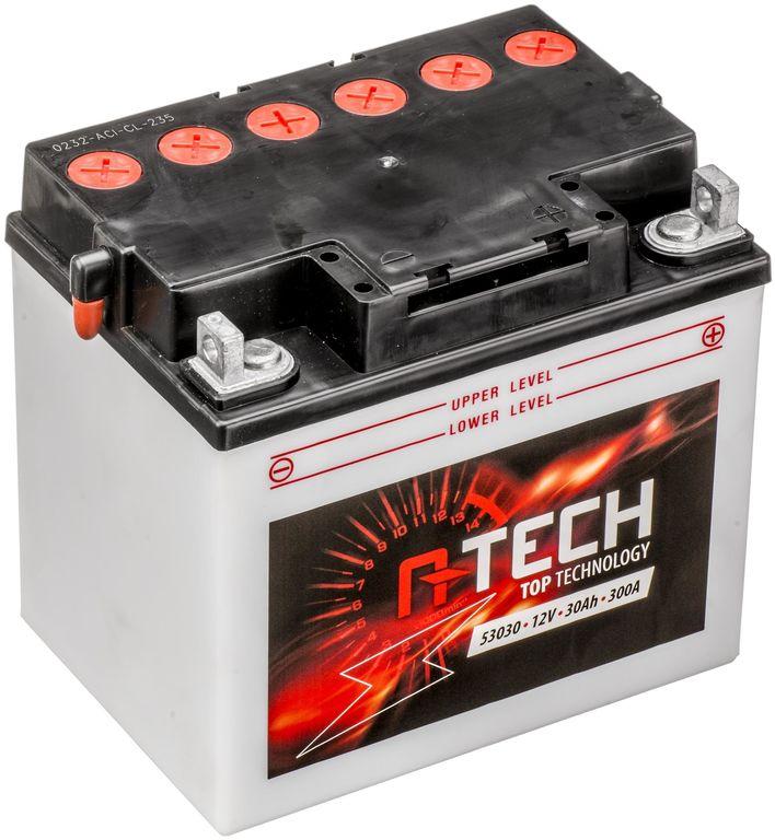 Obrázek produktu baterie 12V, 53030, 30Ah, 300A, pravá, konvenční 186x130x171, A-TECH (vč. balení elektrolytu) 550544
